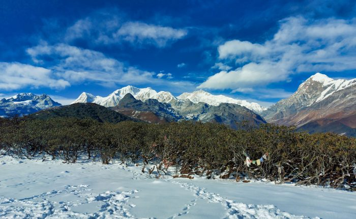 mountain view and snowy landscape photo from Dzongri Trek